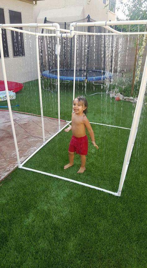 Homemade Water Sprinkler Waterfall For Kids Outdoor Kids Diy Backyard Backyard Fun