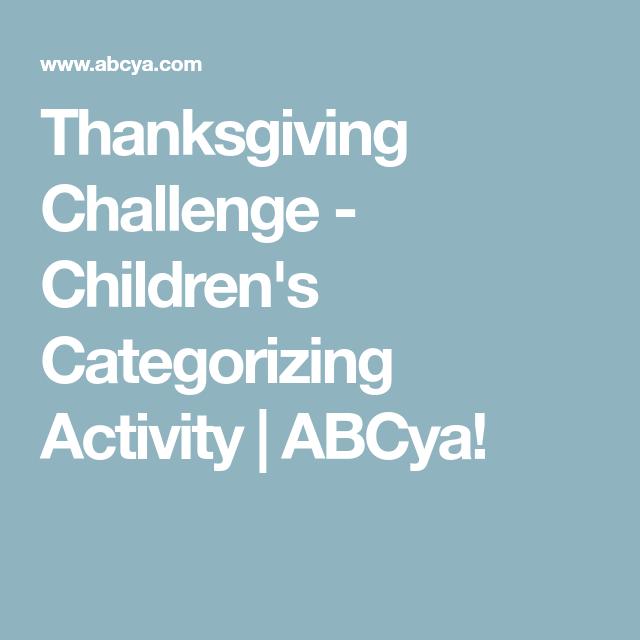 Thanksgiving Challenge - Children\'s Categorizing Activity   ABCya ...
