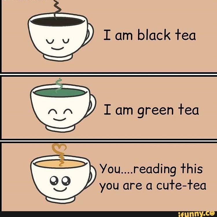 I Am Black Tea Ar I Am Green Tea You Reading This You Are A Cute Tea Ifunny Green Tea Black Tea Tea Meme