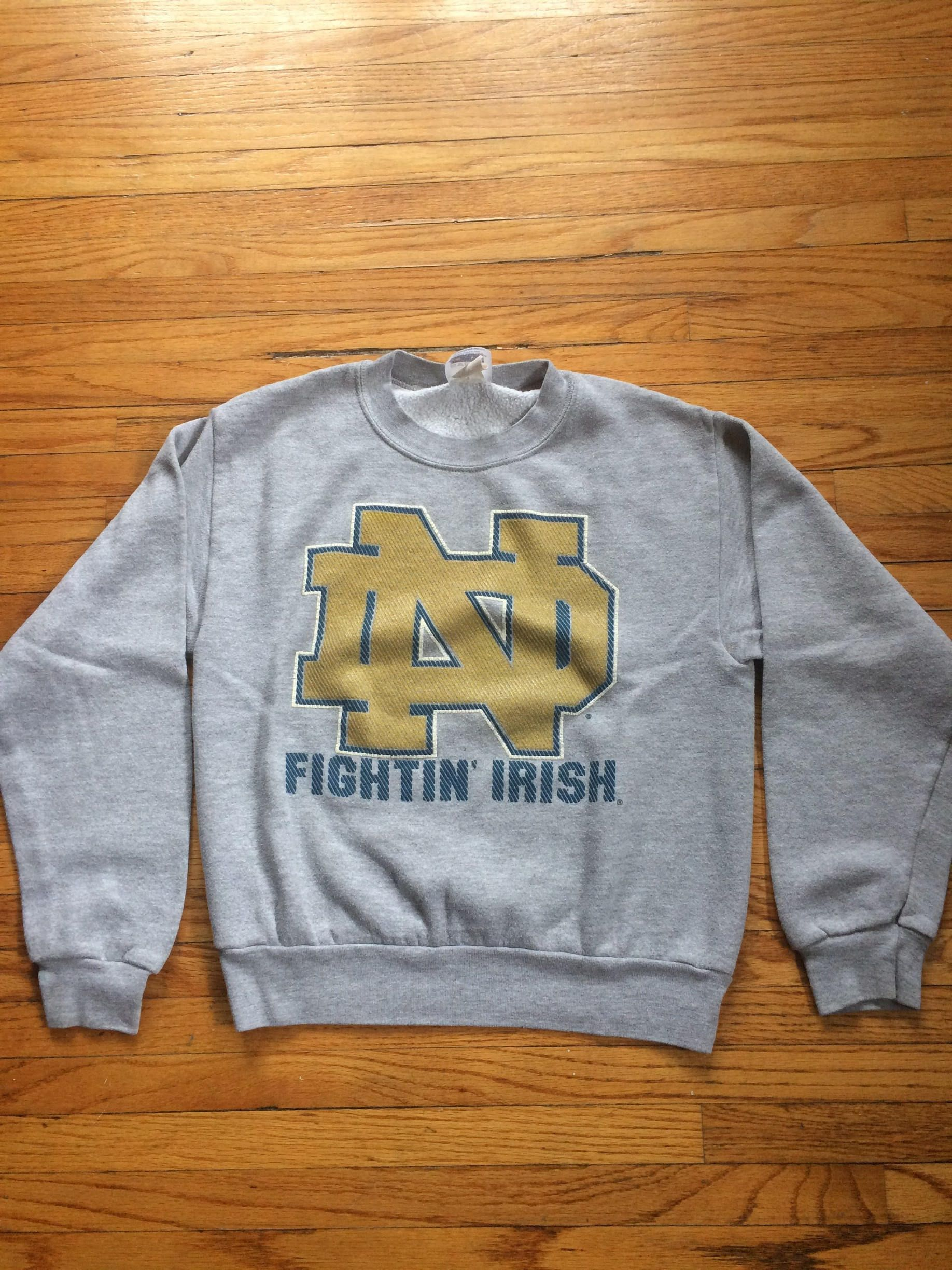 1bd57234244377 Vintage Notre Dame Fighting Irish College Wear Crop Top Long Sleeve  Sweatshirt by VintageVanShop on Etsy