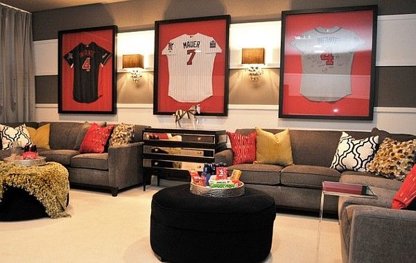 Gorgeous Space Showcases The Owners Love For Baseball Decoist Soccer Themed Bedroom Bedroom Design Hangout Room