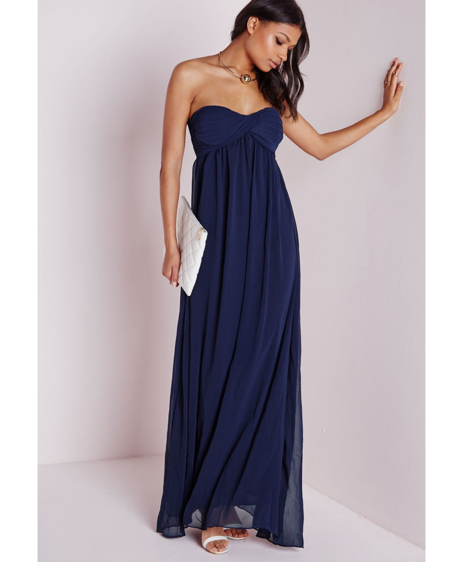 d403e3b3172d0 Gathered Chiffon Maxi Dress Navy   Clothes and styles   Strapless ...