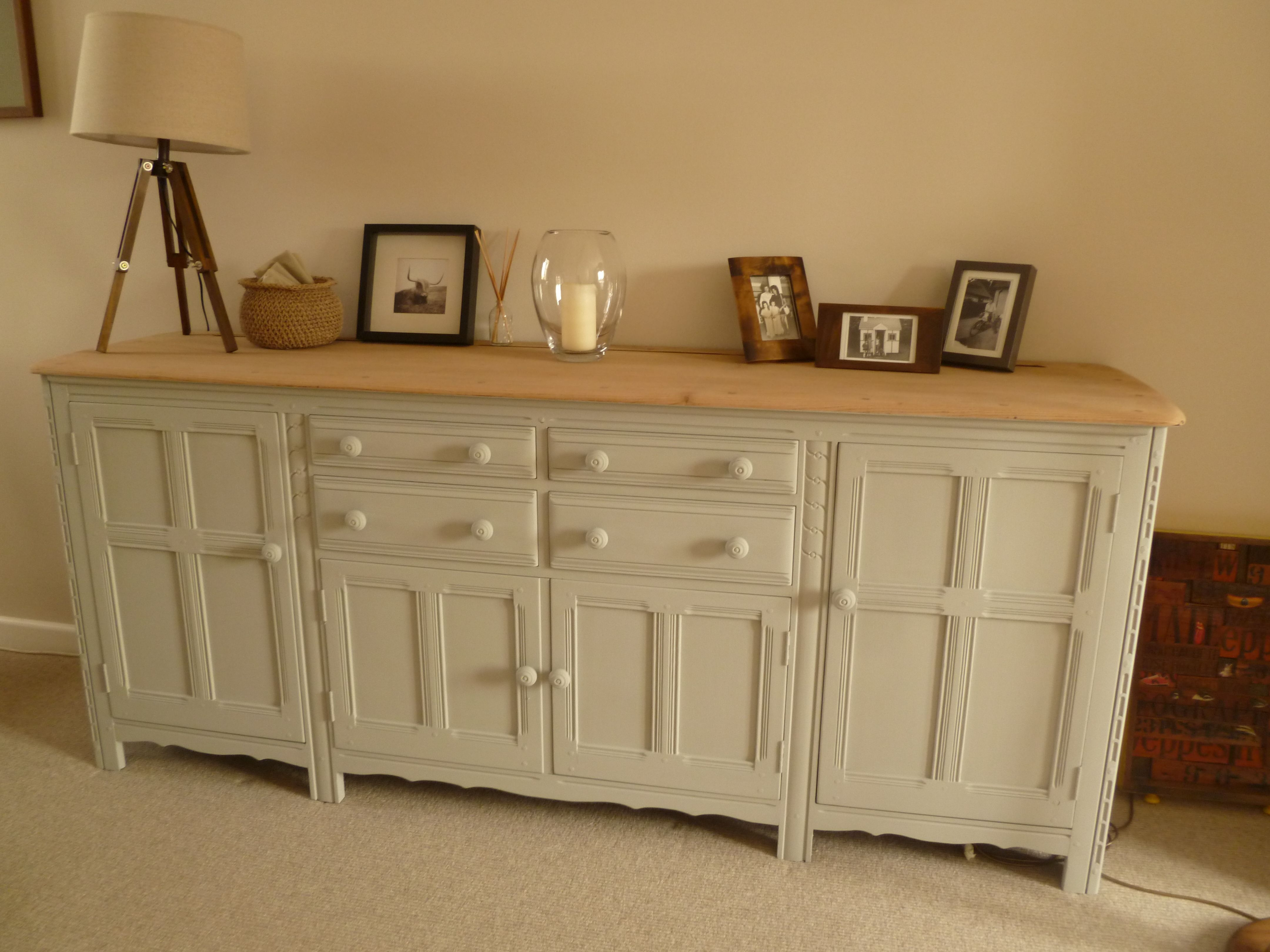 Ercol Dresser Originally Very Dark Stained Wood Top Sanded Back And Left Natural The