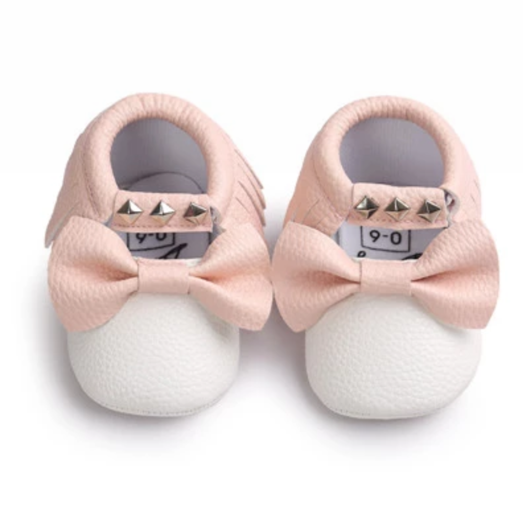 Blush And White Stud Moccs Alessandraslittlebow Baby Girl Shoes Baby Shoes Baby Boy Shoes