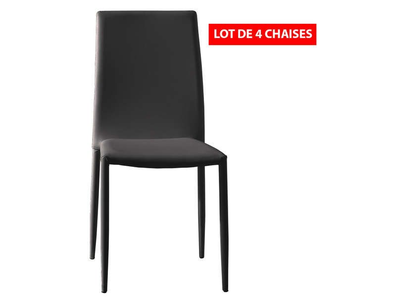 Lot De 4 Chaises Diva Coloris Noir  Meubles Pas Cher