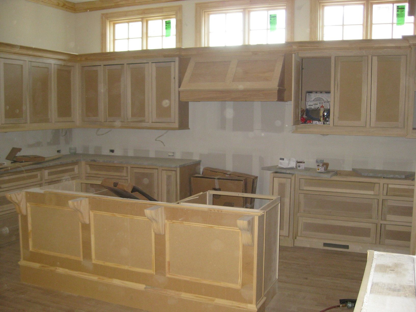Luxury Custom Kitchen Kitchen Cabinets Ready For Paint Home Builders Home Construction Colonial Style Homes