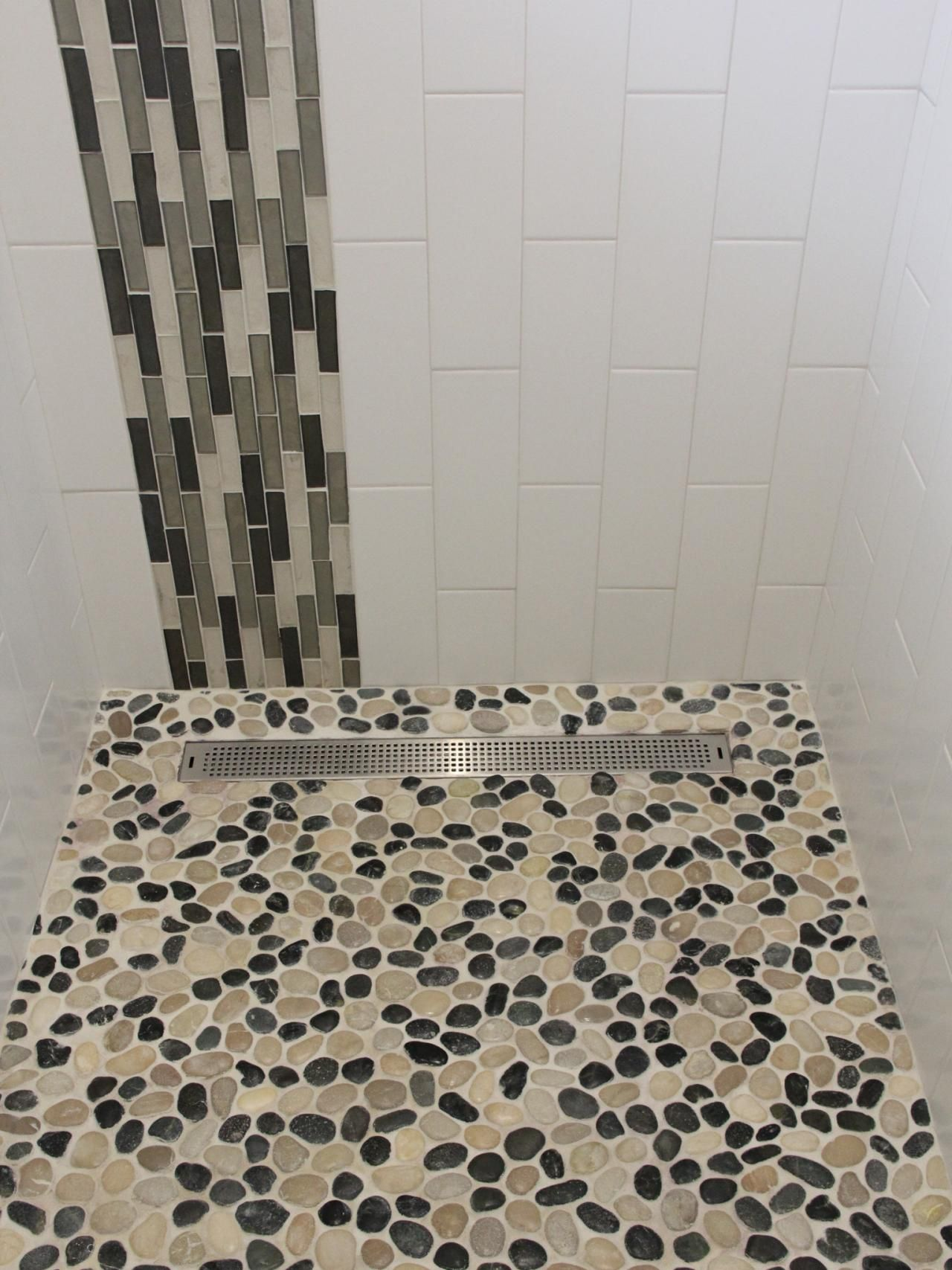 Fancy white subway wall tiled feat grey mosaic ceramic accent as fancy white subway wall tiled feat grey mosaic ceramic accent as well as river pebble shower doublecrazyfo Gallery