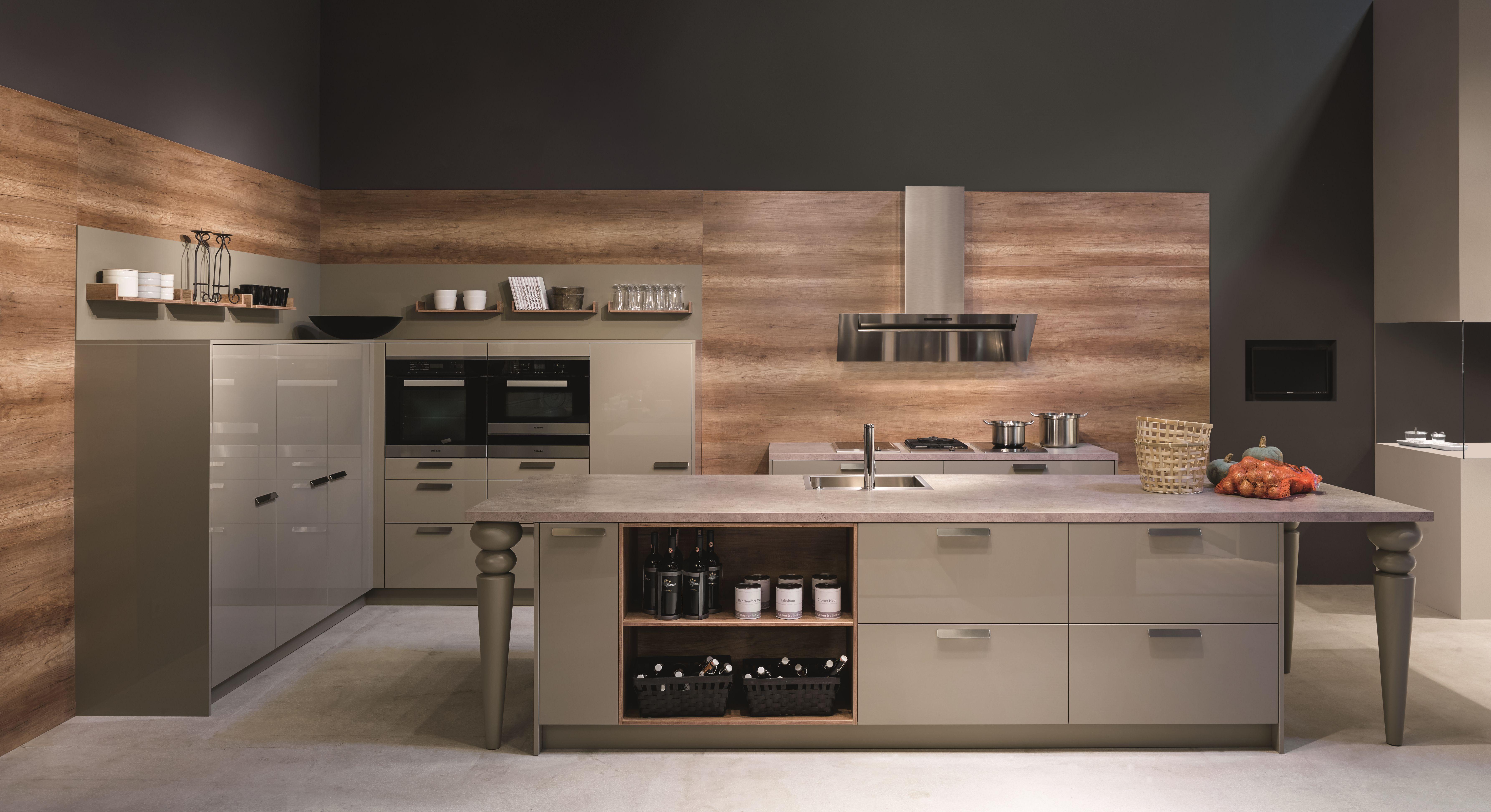 KH Küche: Hochglanz lackiert Steingrau KH kitchen: high-gloss ...