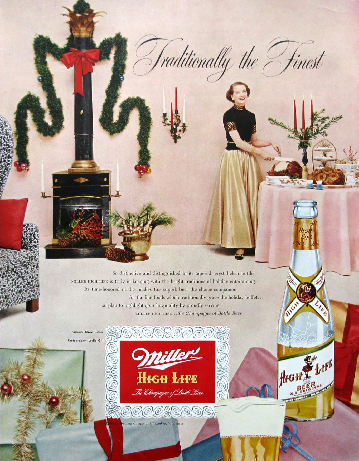 1953 Miller High Life beer Christmas ad (from