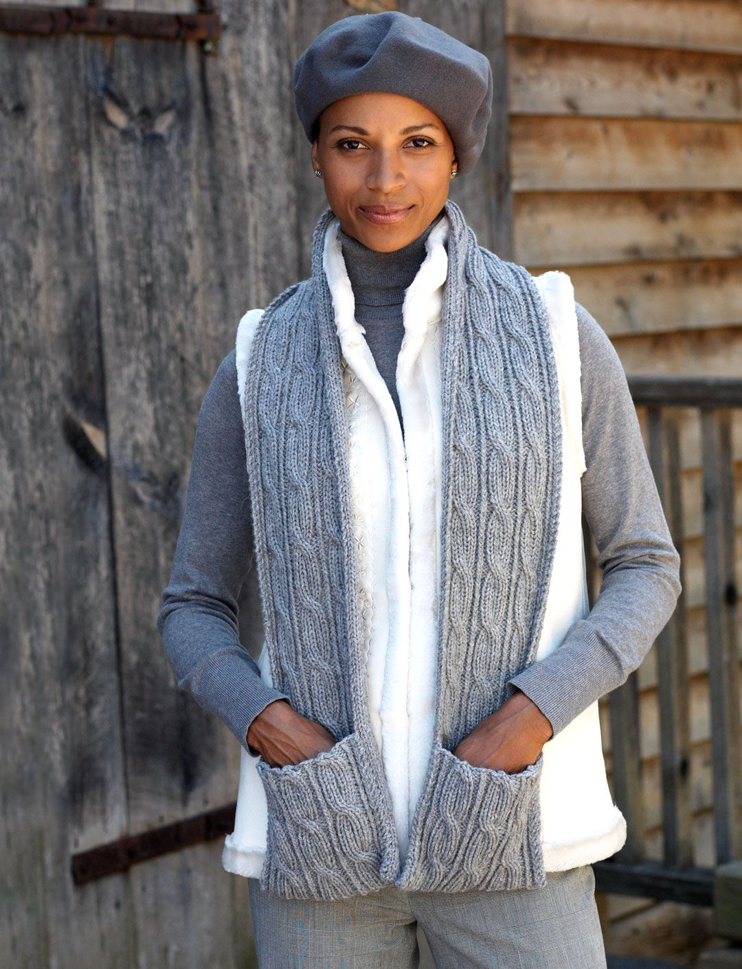 Free Pattern: Cabled Scarf with Pockets   Knitting ...
