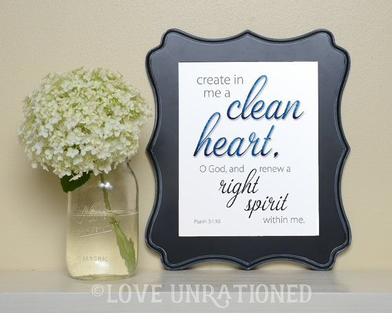 Instant Download, Bible verse art, Bible verse printable, Psalm 51:10, create in me a clean heart