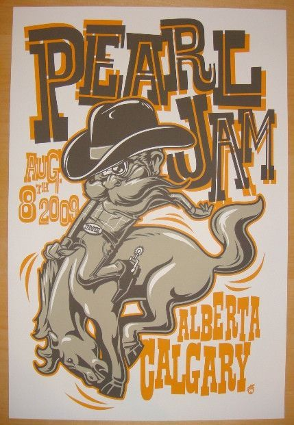"""Pearl Jam - silkscreen concert poster (click image for more detail) Artist: Acorn Venue: Canada Olympic Park Location: Calgary, AB Concert Date: 8/8/2009 Size: 16"""" x 24"""" Condition: Mint Notes: this si"""