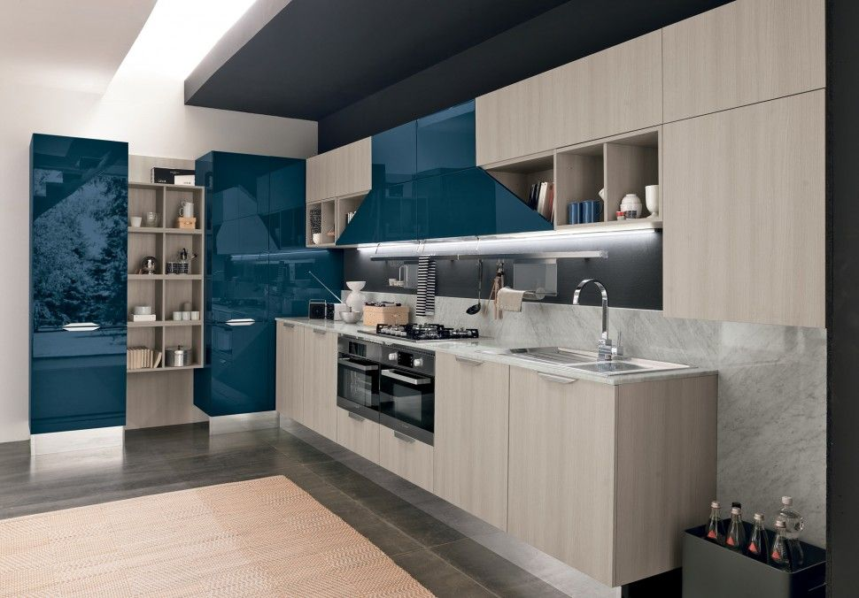 Colombini Lungomare Konyhabútor Modern Kitchen Furniture Nature And Blue