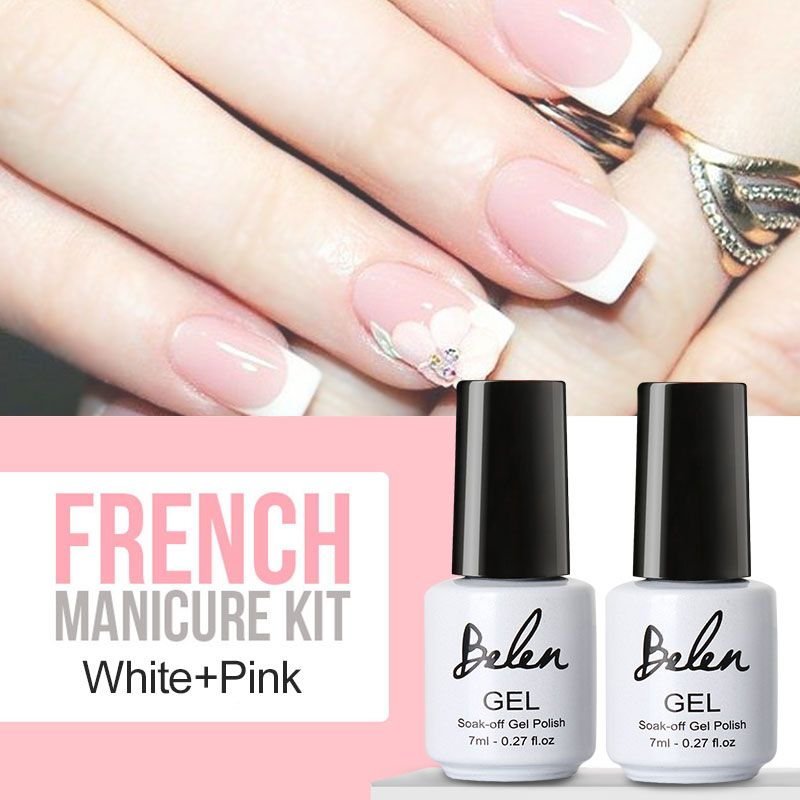 Belen UV Gel Nail Tips Pure Fine Shiny Cover French Manicure Set ...