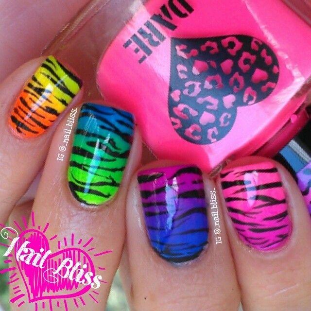 Neon Hombre Zebra Stripes! | Nail Art | Pinterest | Manicuras ...