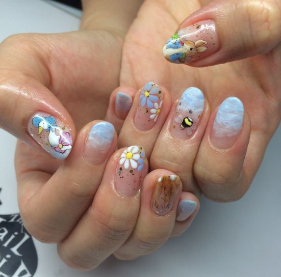 Customised Peter Rabbit Nails Cute Spring Nails Easter Nail