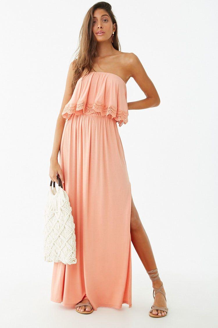 Strapless Crochet Trim Flounce Dress Forever 21 Flounced Dress Dresses Crochet Trim
