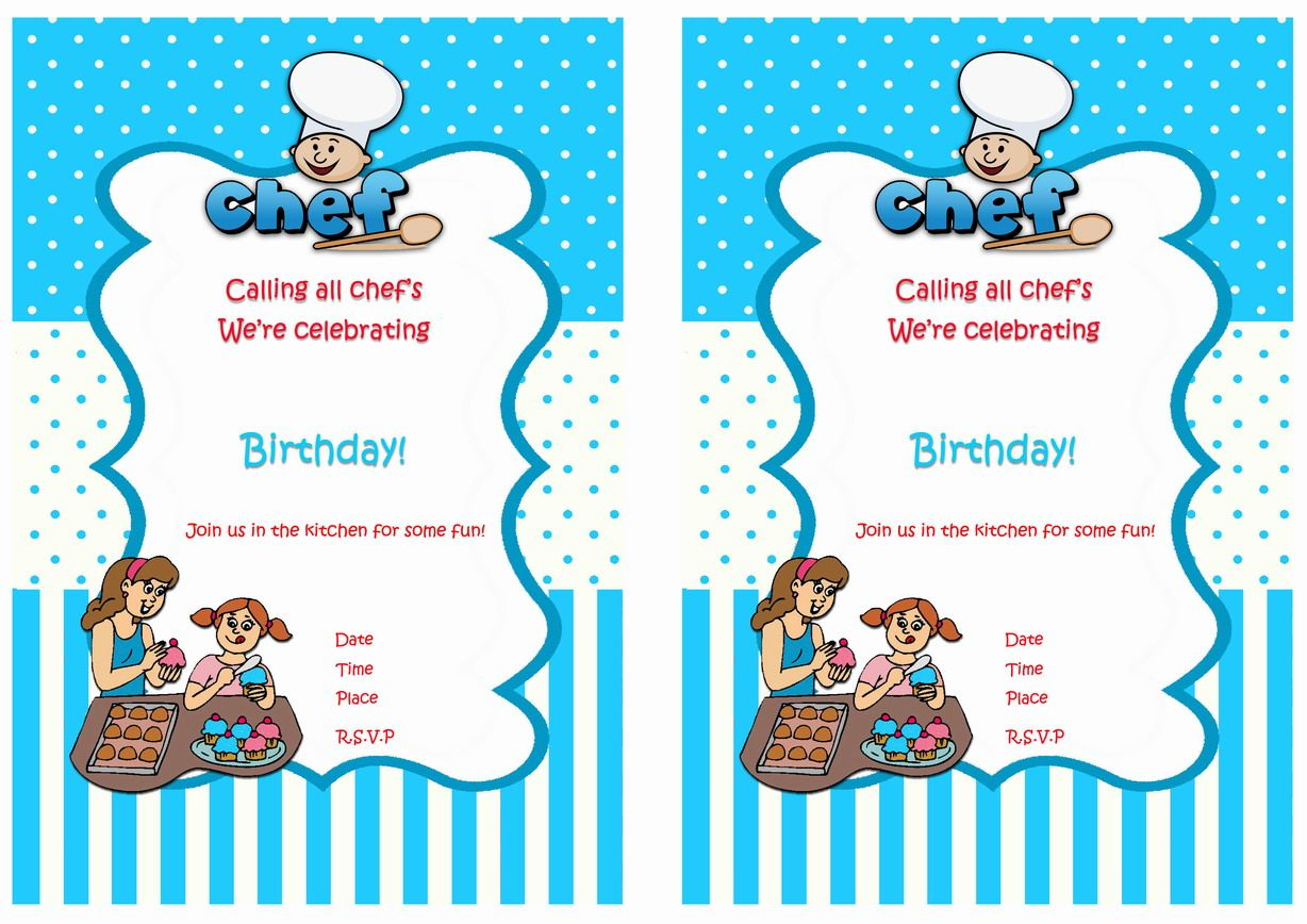 Cooking And Baking Free Printable Birthday Party