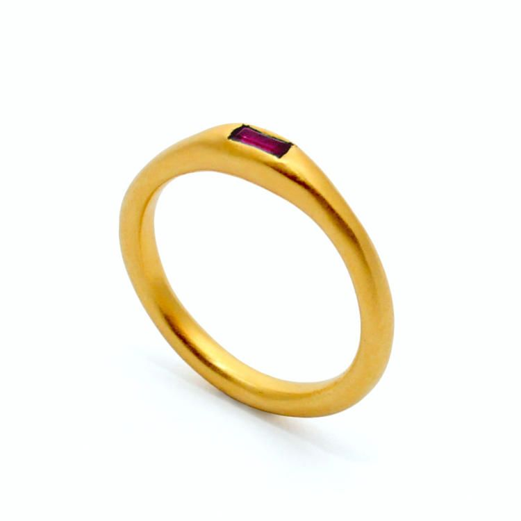 22ct Gold Plated Baguette Ruby Ring   Mabel Hasell Jewellery