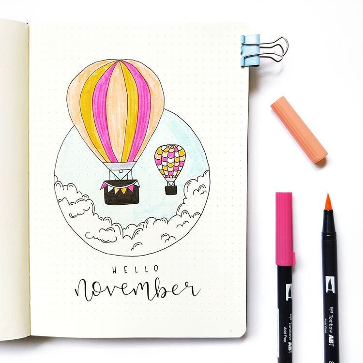 "Bujo and watercolour on Instagram: ""Hello November ☁ I've been wanting to try this month's theme of clouds/hot air balloons for a while so I'm finally doing it! Can't…"""