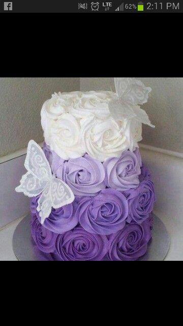 Purple flowers | Rosette cake, Ombre rosette cake