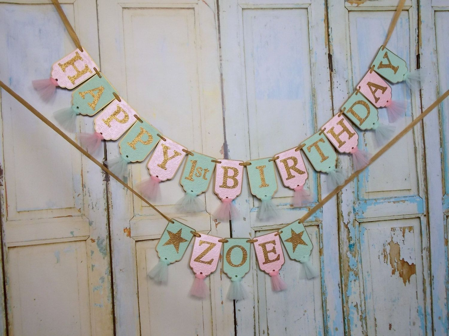 Happy 1st Birthday Banner, Name Banner with Stars Optional, Mint Pink and Gold Banner, Girls First Birthday Decoration, Twinkle Little Star by PaperEtcStudio on Etsy