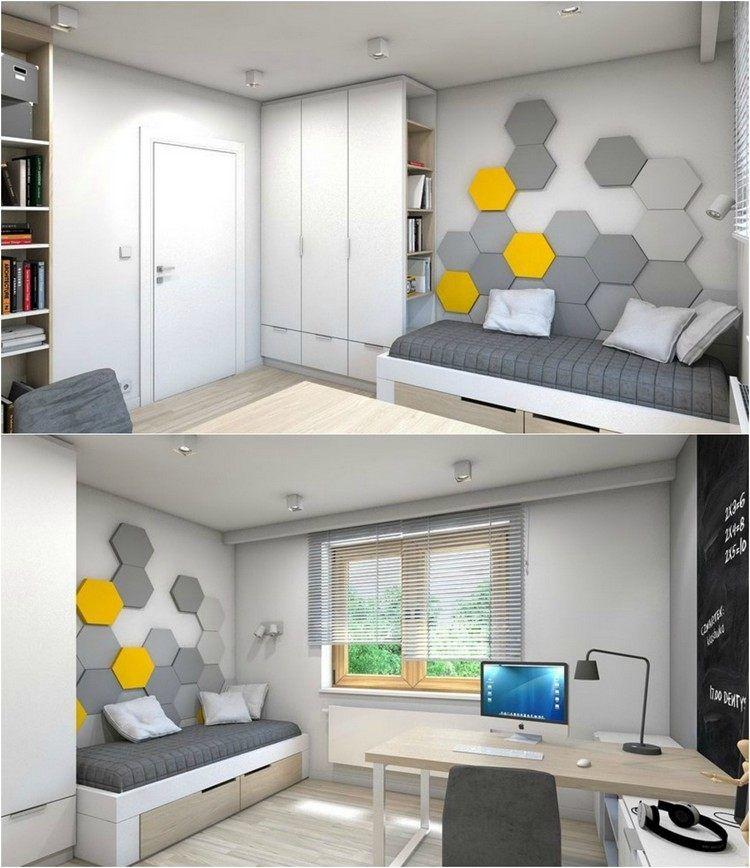 modernes Kinderzimmer in grau, weiß und hellem Holz Jugendzimmer