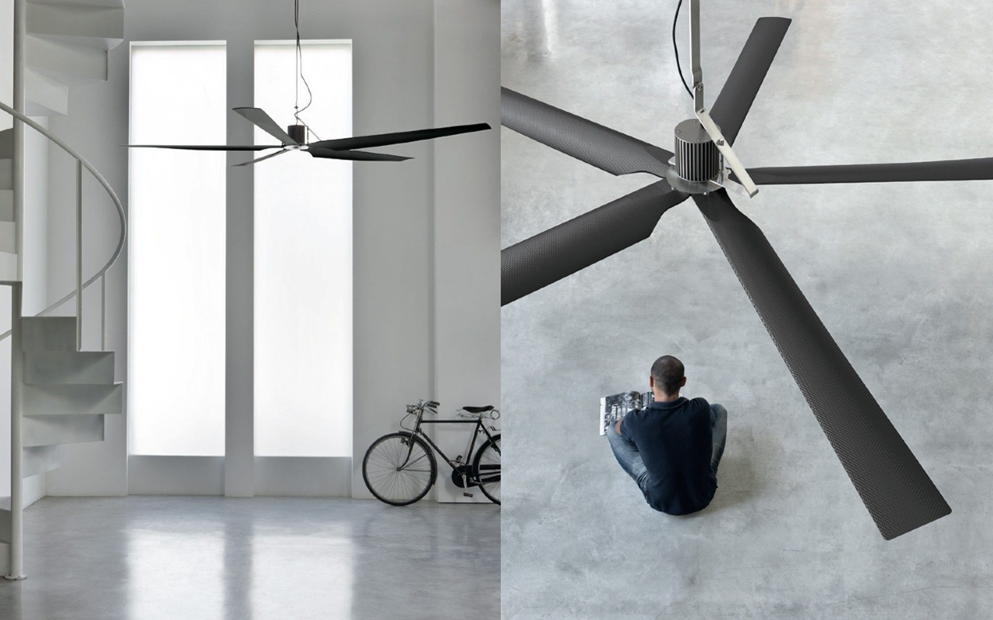Two ceiling carbon fiber ceiling fan by CEA Design, from Pure ...