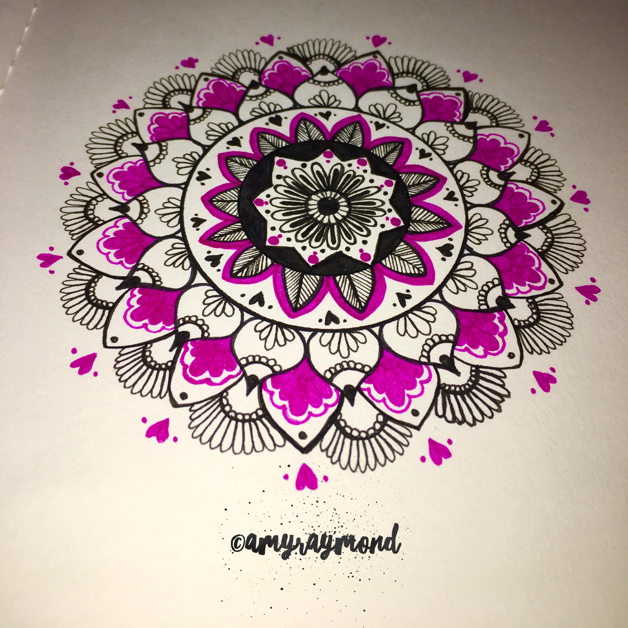 Quick sketch 11/21/16 #mandala #colorpop #zentangle #micron #copic #doodle By Amy Raymond
