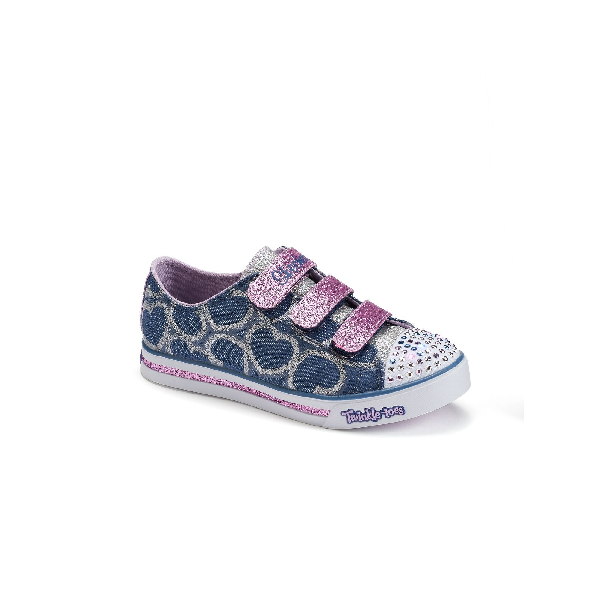 Skechers Twinkle Toes Sparkle Glitz Hearts Girls' Light-Up Shoes, Girl's, Size: 2, Orange Oth