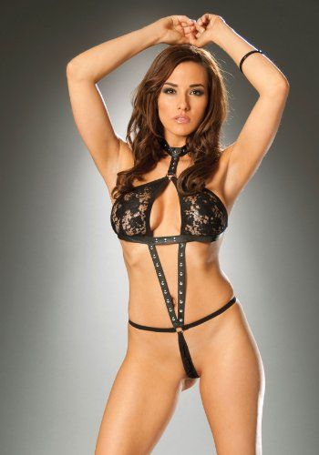 25fd09965ad Women s Leather And Lace Halter Neck String Teddy (Black One Size)  22.99