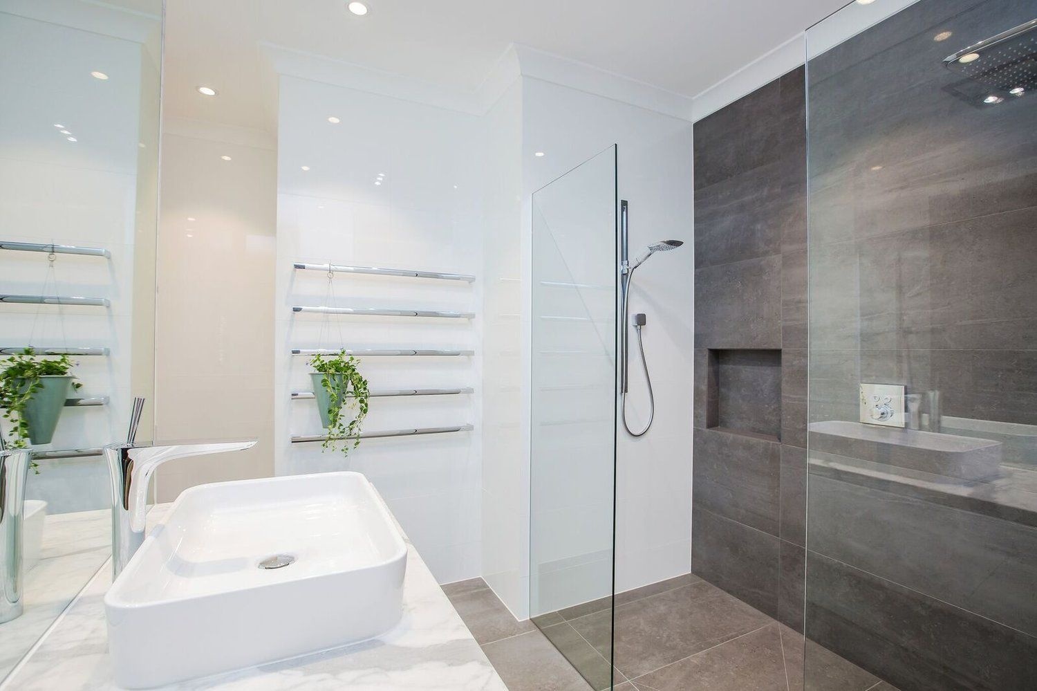 bathroom design featuring natural stone benchtop tiles from italia ceramics bathroomdesign bathroomtiles - Bathroom Designs Adelaide
