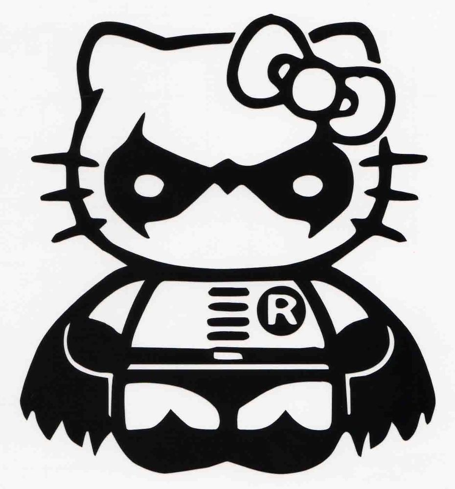 HELLO KITTY ROBIN CAR WINDOW VINYL DECAL BUMPER STICKER BATMAN - Hello kitty custom vinyl decals for car
