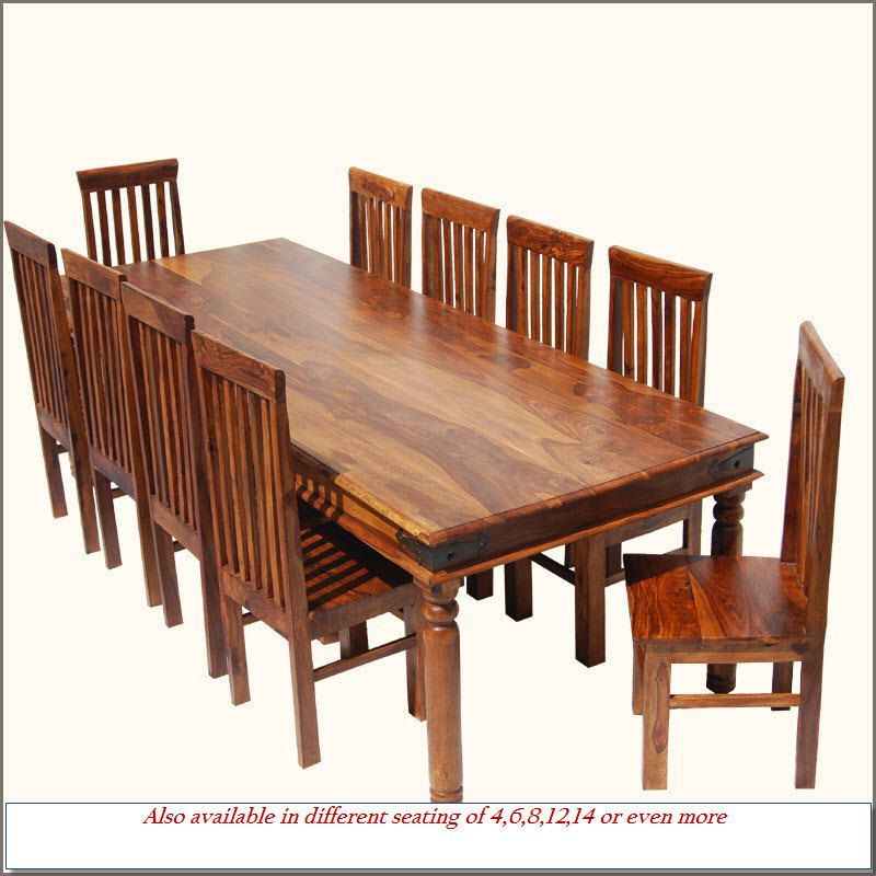 Formal Custom 11pc Solid Wood Large Family Dining Table Room 10 Chairs Set  Furniture
