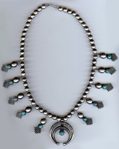 Vintage Navajo Indian Deluxe Sterling Silver Turquoise Squash Blossom Necklace | eBay $850