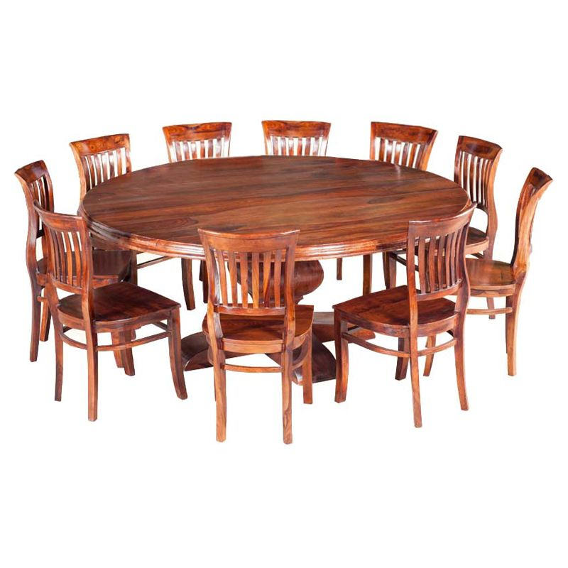 Rustic Solid Wood 11pc Large Round Dining Table Chair Set