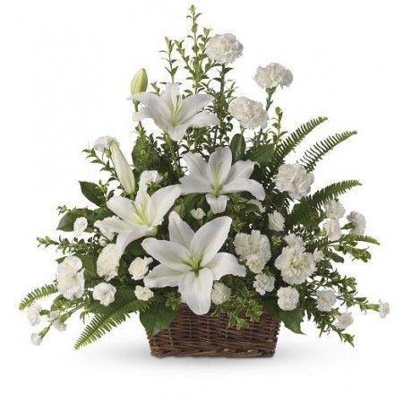 Diy Floral Funeral Basket White Lilies Bouquet Funeral Funeral Flowers Memorial Decrati Basket Flower Arrangements Funeral Flower Arrangements Funeral Floral