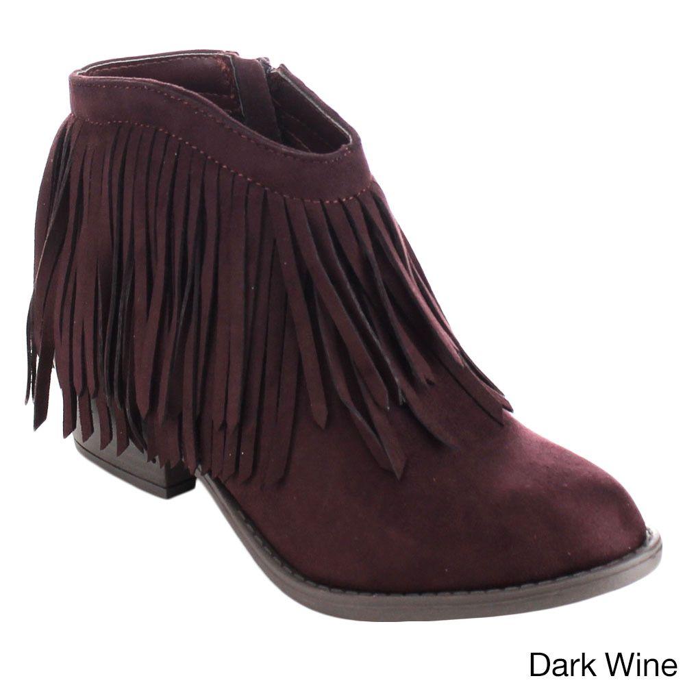 Soda Jervis Women's Lovely Fringe Inside Zip Stacked Heel Ankle Booties