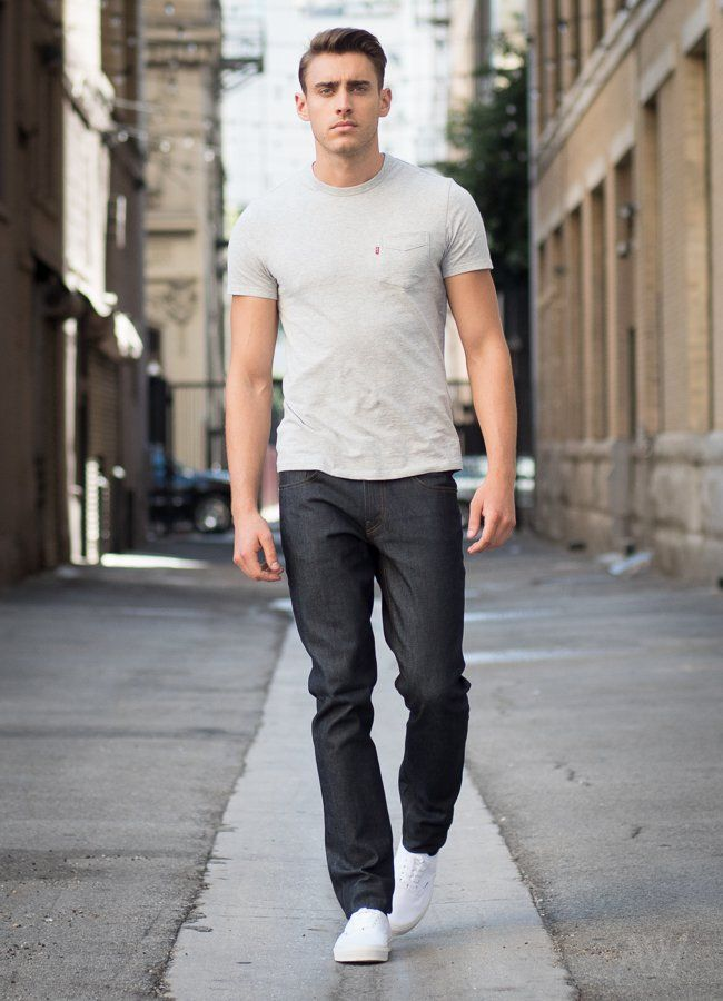 light grey tshirt dark wash jeans white sneakers  mens
