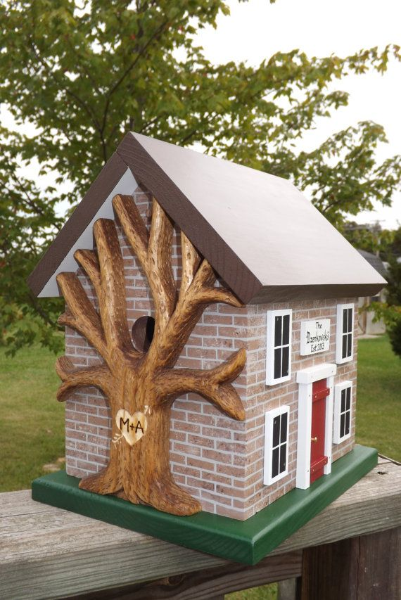 Personalized Birdhouse with Brick Siding and Carved Tree ...