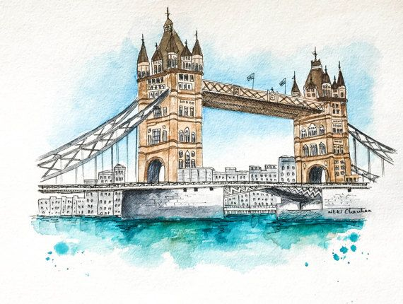 London Print London Bridge Watercolor Painting London
