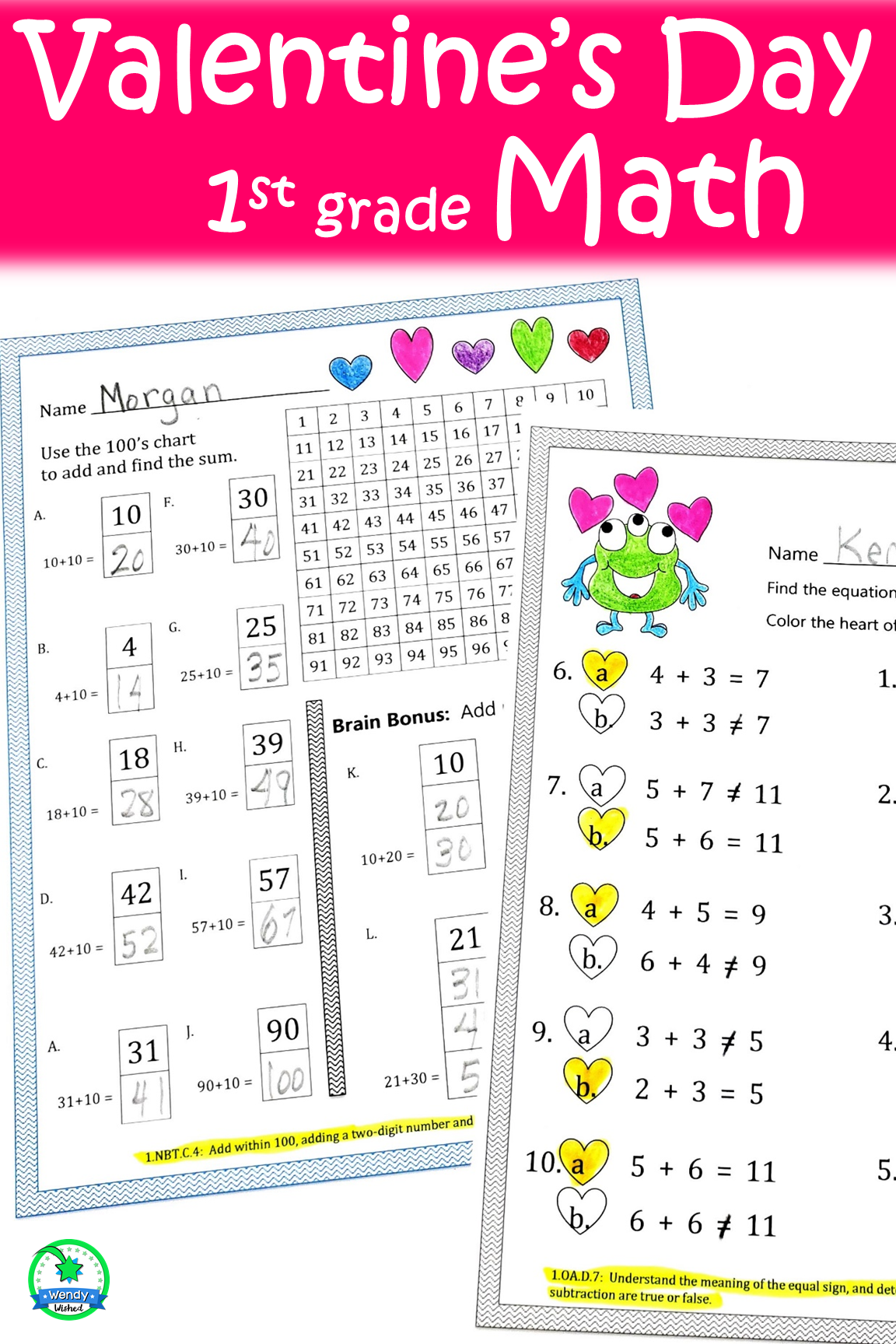 Valentine's Day Math Worksheets for 1st Grade   Math [ 1728 x 1152 Pixel ]