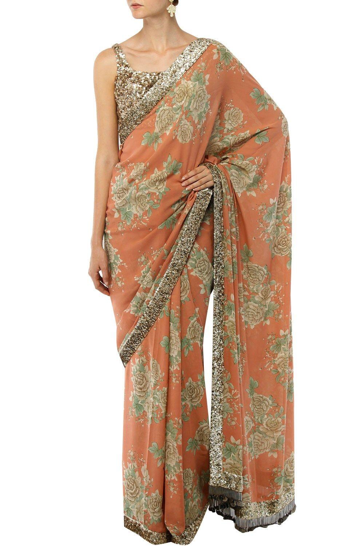 d63654d0f71cf0 Sabyasachi indian designer floral printed sarees online | Glitter in ...