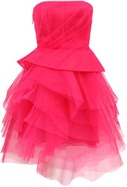 MONIQUE LHUILLIER Strapless Tier Skirt Dress - Lyst