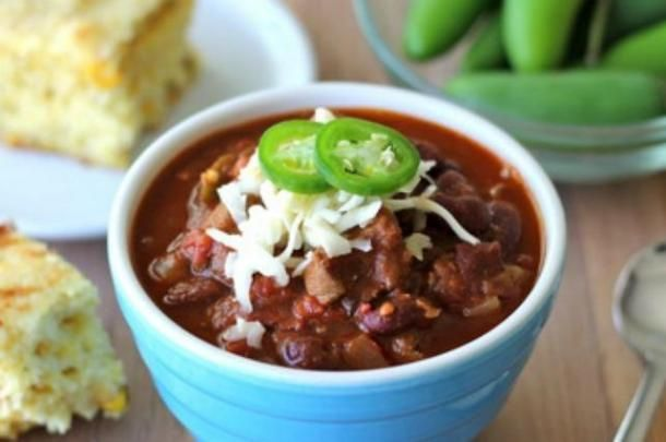Juicy, tender chunks of steak meat soak up all the chili, and garnished with jalapeño monterey jack cheese, this is a perfect companion to jalapeño cornbread.