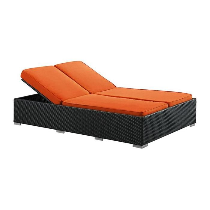 Evince Chaise in Espresso with Orange Cushions