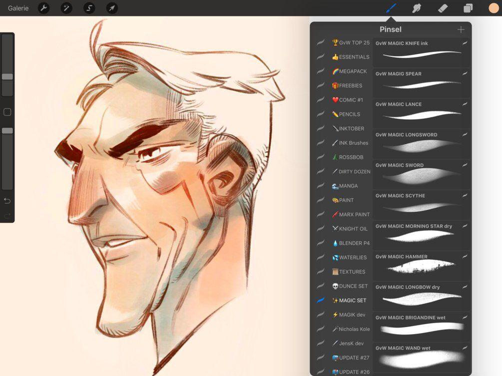 Magic Procreate Set 55 Brushes Sketches Comic Artist