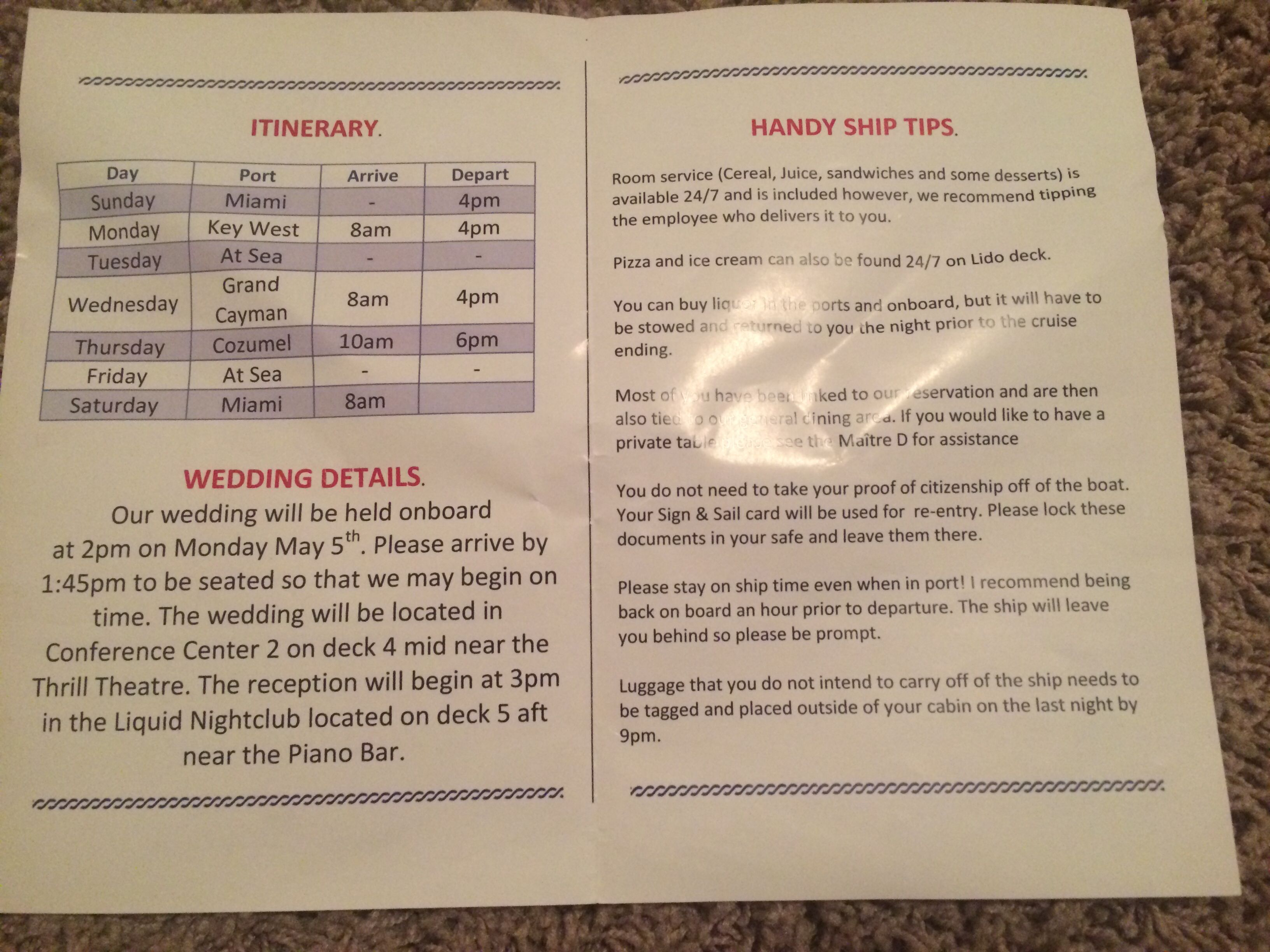 Cruise Guest Directory Carnival Cruise Wedding Inside Page  My