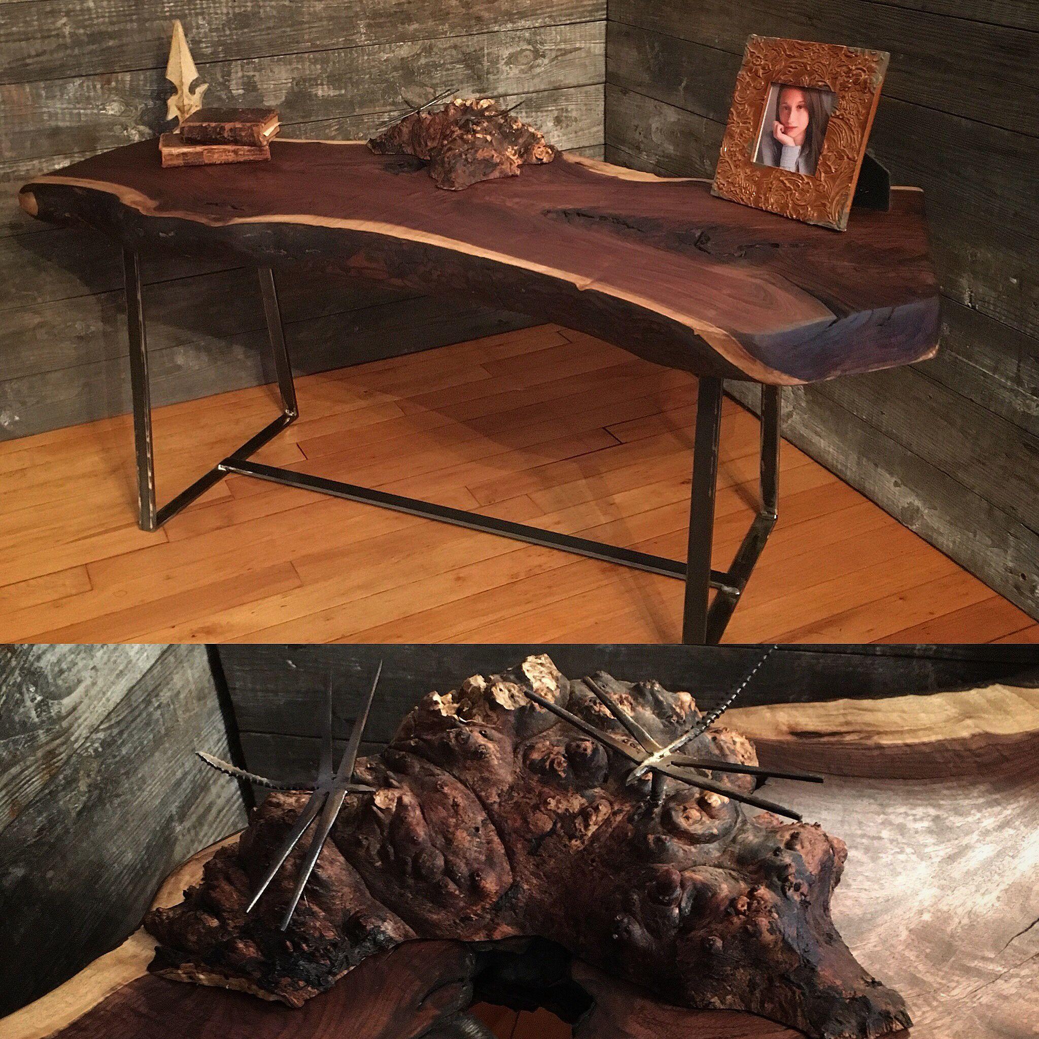 Black Walnut Coffee Table With Dragonfly Island Urbanindustrial