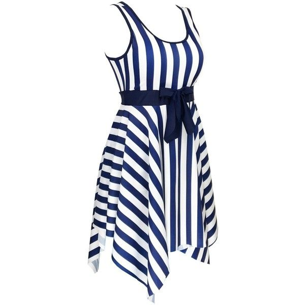 63bad63f395cf Women s One Piece Sailor Striped Bathing Suit Plus Size Cover up... ( 38) ❤  liked on Polyvore featuring swimwear